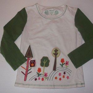 Cherokee White Green Shirt Girl 6X